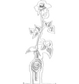 black and white rose contour vector image