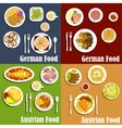 Austrian and german cuisine dishes vector image