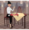 Business woman having lunch in the dining room vector image