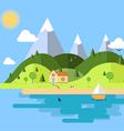 Flat house nature island vector image