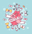 Flowers butterflies and ribbon vector image