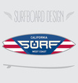 for surf board design California west coast vector image