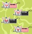 Four cute cartoon Zebras stickers vector image