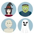 Halloween character set Witch mummy ghost vector image