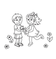 Hand drawn cute children with teddy bear vector image