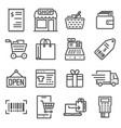 line shopping and retail icons set vector image