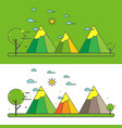 mountain landscape in the flat linear style vector image