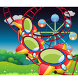 The colorful roller coaster vector image