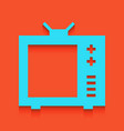 tv sign whitish icon on vector image