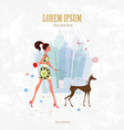 Invitation card with pretty girl and her dog are vector image vector image