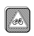 silhouette square shape road signs with bicycle vector image