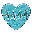 color pencil drawing of heartbeat icon vector image