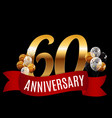 golden 60 years anniversary template with red vector image