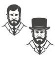 gentleman head with vintage hat design elements vector image