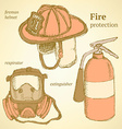 Sketch fire set in vintage style vector image