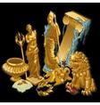 Golden Greek symbols statues of people vector image