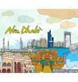 abu dhabi doodles vector image vector image
