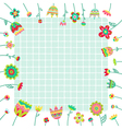 background with doodle flowers and space for text vector image