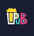 bright logo pub beer mug of foaming beer on a dark vector image