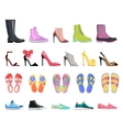 Collection of Shoes Types Modern Female Footwear vector image