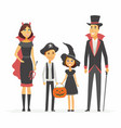 Family at halloween party - cartoon people vector image