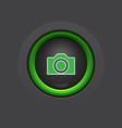 glossy dark circle photo camera button vector image