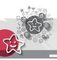 Hand drawn star icons with icons background vector image