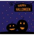 Happy Halloween pumpkin card Starry night vector image