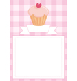 Invitation card or menu with heart cupcake vector image