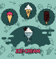 ice-cream flat concept icons vector image