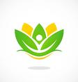 lotus flower spa people logo vector image
