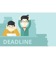 Two stressed asian employees vector image