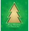 christmas green card with tree vector image