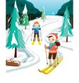 Boy And Girl Skiing vector image
