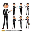 businessman asian character set on white vector image