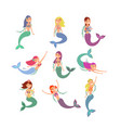 cute fish girls characters swimming pretty vector image