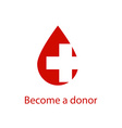 Medical logo drop of red blood and the cross icon vector image