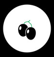 Plums fruit simple black and green icon eps10 vector image