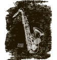 saxophone on a black background vector image
