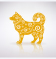 stylized yellow dog with ornament vector image
