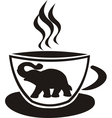 Tea cup with elephant vector image vector image