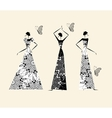 Fashion girls in wedding dresses for your design vector image vector image