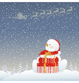 Snowman on Christmas eve vector image