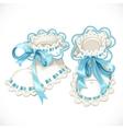 Blue booties for newborn vector image