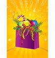 christmas gift bag vector image vector image