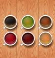 types of tea tea cups vector image