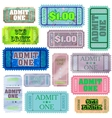 Set of ticket admit one EPS 8 vector image vector image