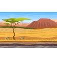 Cartoon african panorama savanna landscape with vector image