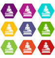 buddha statue icon set color hexahedron vector image
