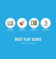 flat icon science set of glass spaceship lecture vector image